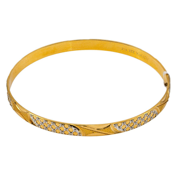 22K Multi Tone Gold Bangle W/ Overlay White Gold Circle Details |  22K Multi Tone Gold Bangle W/ Overlay White Gold Circle Details for women. This lovely 22K multi...