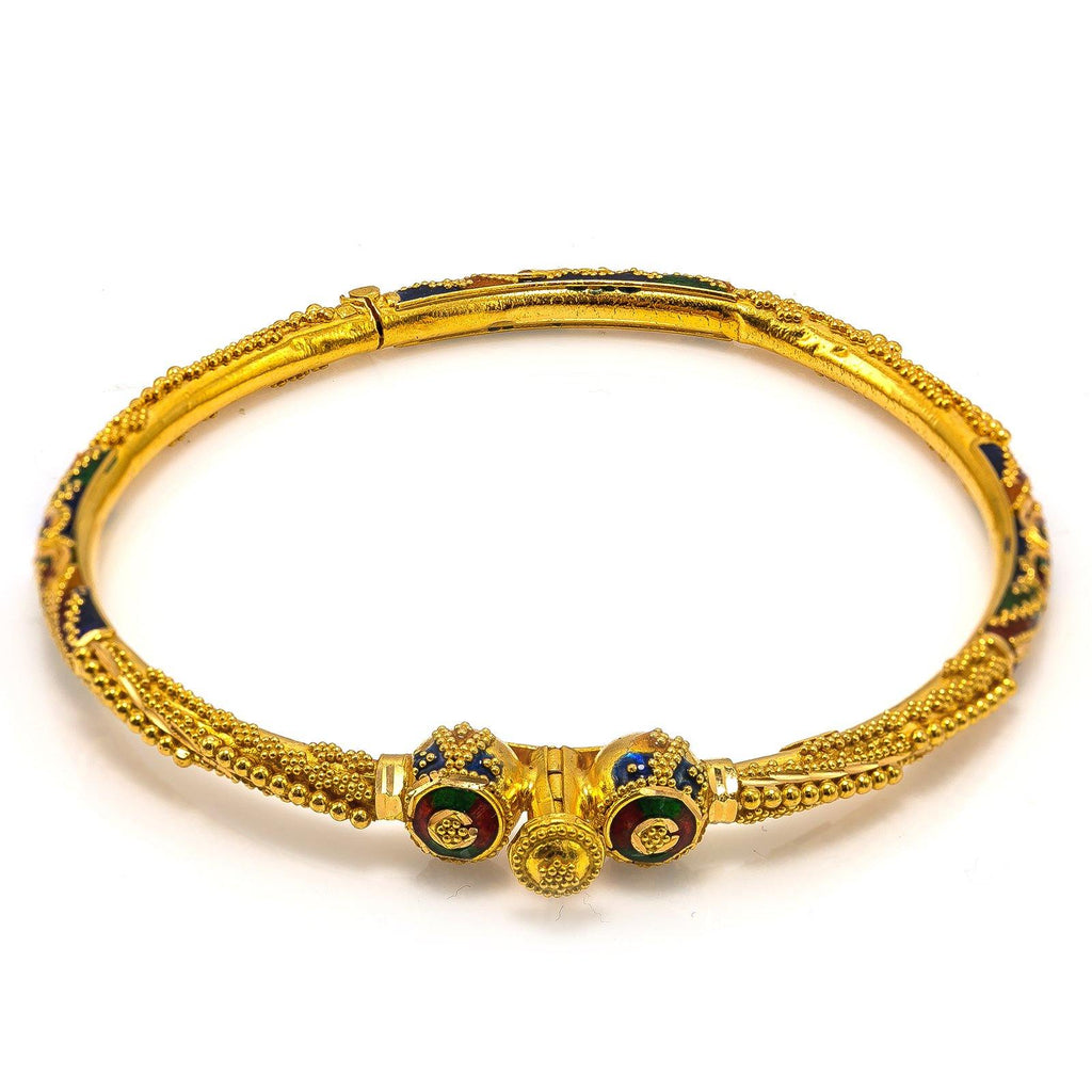 22K Yellow Gold Bangle W/ Bead Ball Accents & Hand Painted Details |  22K Yellow Gold Bangle W/ Bead Ball Accents & Hand Painted Details for women. Add a bit of d...