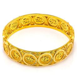 22K Yellow Gold Bangle W/ Engraved Laxmi Coin Accents