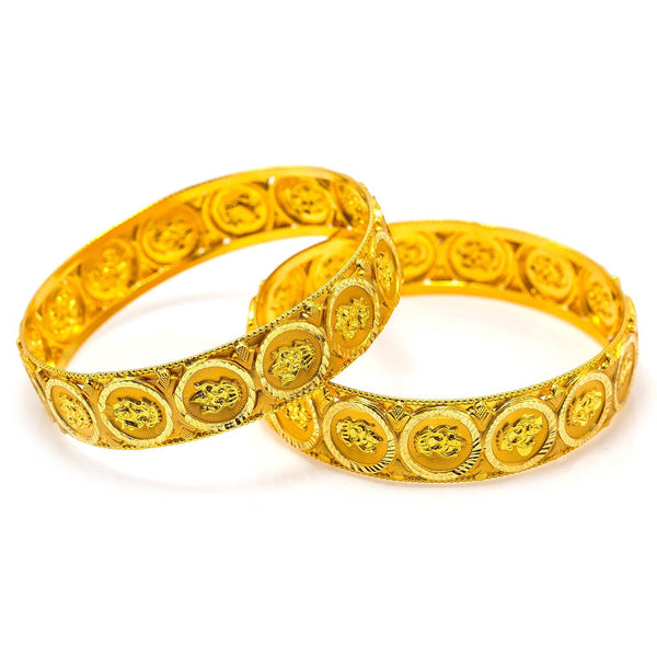 22K Yellow Gold Bangle W/ Engraved Laxmi Coin Accents | 22K Yellow Gold Bangle W/ Engraved Laxmi Coin Accents for women. This beautiful 22K yellow gold b...