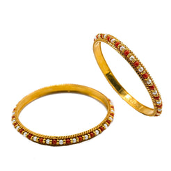 22K Yellow Gold Bangles Set of 2 W/ Pearls & Ruby Bead Accents