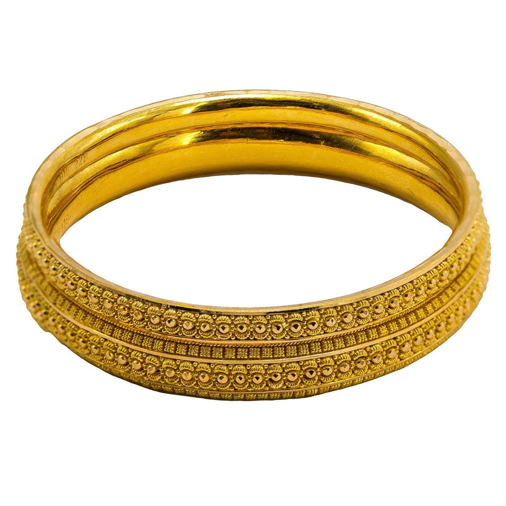 22K Yellow Gold Bangles Set of 6 W/ Intricate Gold Ball Details | 22K Yellow Gold Bangles Set of 6 W/ Intricate Gold Ball Details for women. This beautiful set of ...