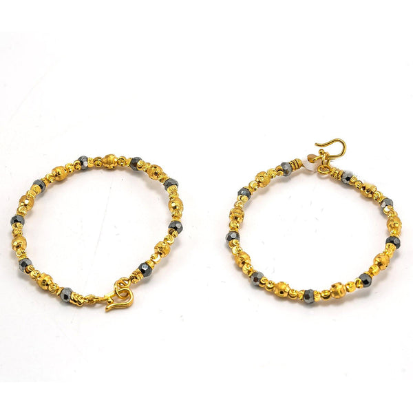 22K Yellow Gold Kids Bangle Set of 2 W/ Textured Beads & Black Beads | 22K Yellow Gold Kids Bangle Set of 2 W/ Textured Beads & Black Beads. Adorn your precious lit...