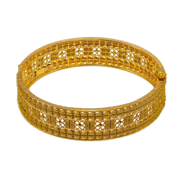 22K Yellow Gold Bangles Set of 2 W/ Flower Designs & Beaded Filigree |  22K Yellow Gold Bangles Set of 2 W/ Flower Designs & Beaded Filigree for women. These elegan...