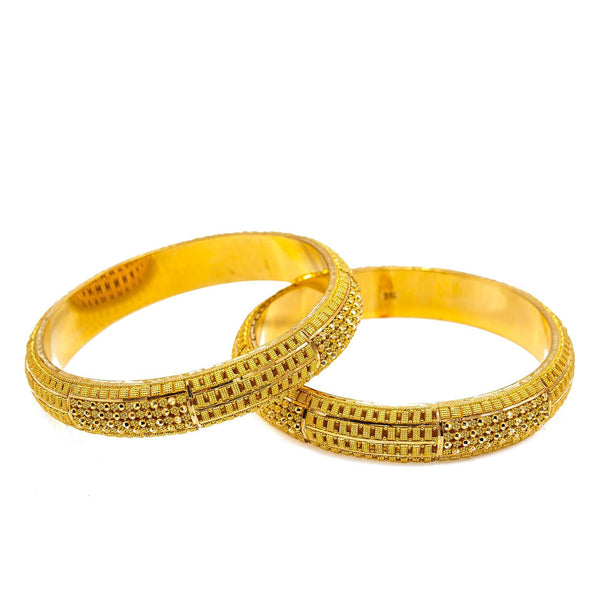22K Yellow Gold Bangles Set of 2 W/ Clustered Beaded Filigree & Thick Domed Band |  22K Yellow Gold Bangles Set of 2 W/ Clustered Beaded Filigree & Thick Domed Band for women. ...