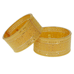 22K Yellow Gold Bangle Cuffs Set of 2 W/ Beaded Filigree & Shackle Screw Closure, 106.2 gm