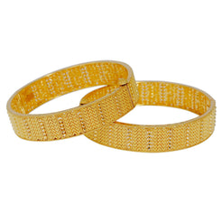 22K Yellow Gold Bangles Set of 2 W/ Beaded Filigree & Pointed Brick Pattern