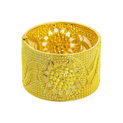22K Yellow Gold Bangle W/ Faceted Lotus Flower Centerpiece & Openable Band
