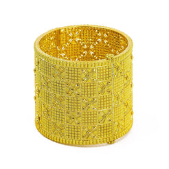 22K Yellow Gold Bangle W/ Alternating Textured Pattern & Openable Band