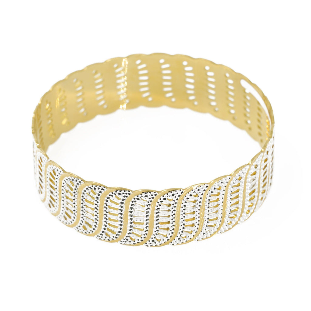 22K Multi Tone Gold Bangle W/ Connected S-Shaped Accents |  22K Multi Tone Gold Bangle W/ Connected S-Shaped Accents for women. This beautiful bangle featur...