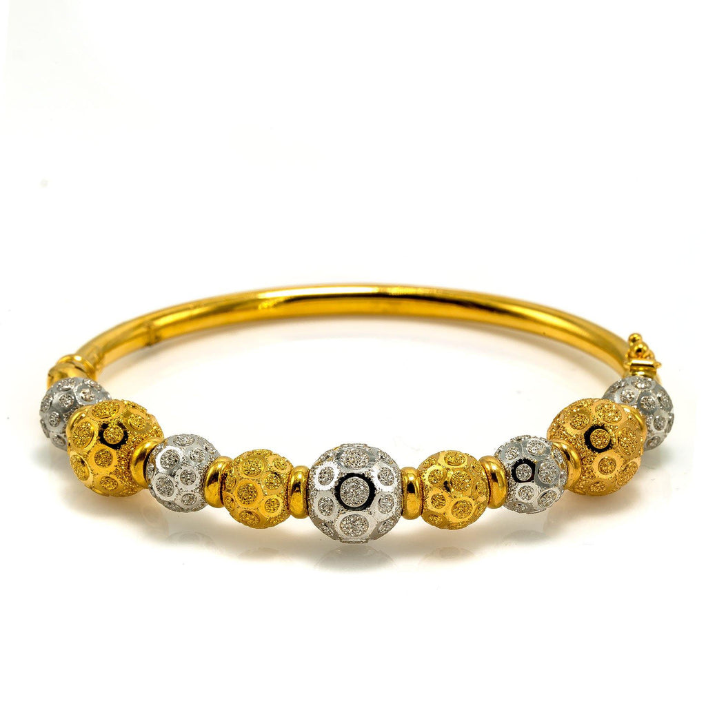 22K Multi Tone Gold Bangle W/ Yellow & White Gold Circular Glass Blast Details on 9 Ball Accents |  22K Multi Tone Gold Bangle W/ Yellow & White Gold Circular Glass Blast Details on 9 Ball Acc...