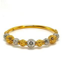 22K Multi Tone Gold Bangle W/ Yellow & White Gold Circular Glass Blast Details on 9 Ball Accents