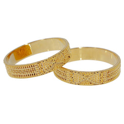 22K Yellow Gold Bangles Set of 2 W/ Beaded Filigree & Chunky Floral Design