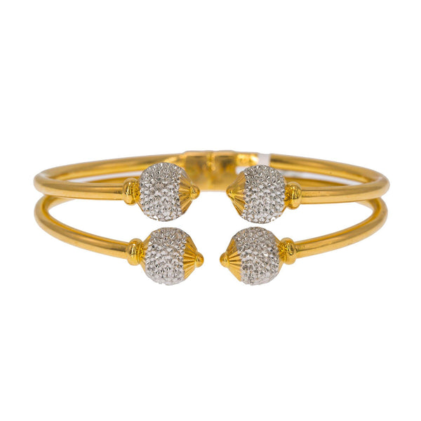 22K Multi Tone Gold Bangle W/ Split Stacked Band & White Gold Accent Balls | Create bold accents with radiant blends of gold colors and unique jewelry designs such as this 22...