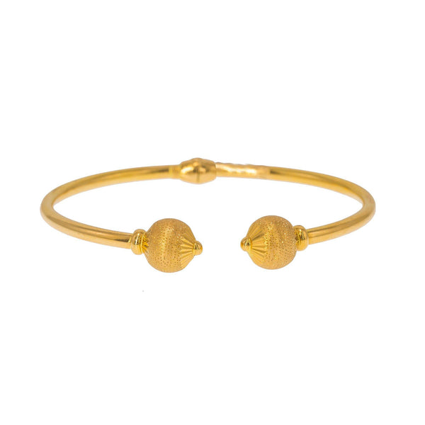 22K Yellow Gold Bangle W/ Facing Speckled Accent Balls | Create bold accents with radiant blends of gold colors and unique jewelry designs such as this 22...