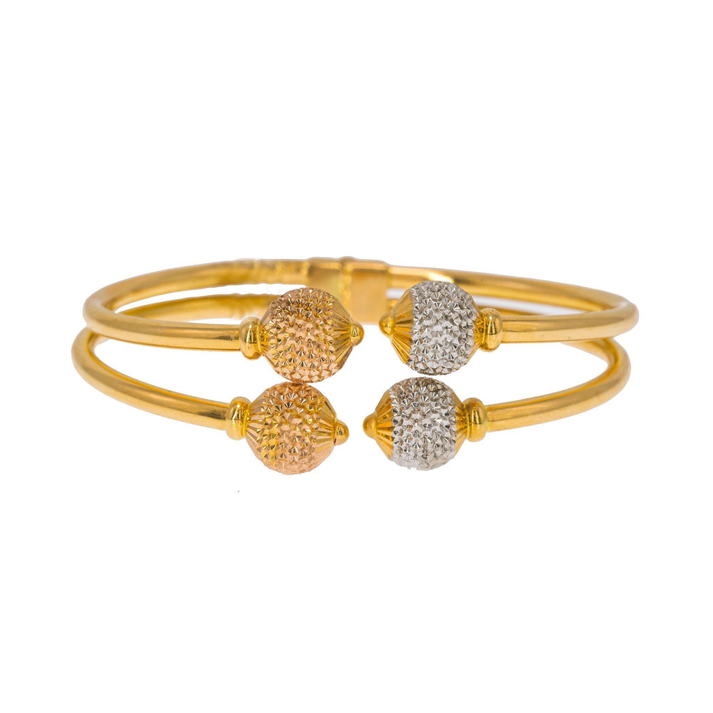 22K Multi Tone Gold Bangle W/ Split Stacked Band, White & Rose Gold Accent Balls | Create bold accents with radiant blends of gold colors and unique jewelry designs such as this 22...
