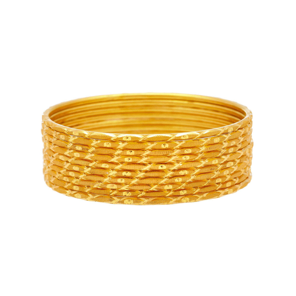 22K Yellow Gold Thin Bangles Set of Ten, 41.2 Grams |    Be as radiant and sleek as you desire with this elegant set of ten, 22K yellow gold thin bangl...