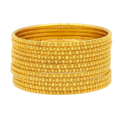 22K Yellow Gold Thin Bangles Set of Twelve, 108.1 Grams