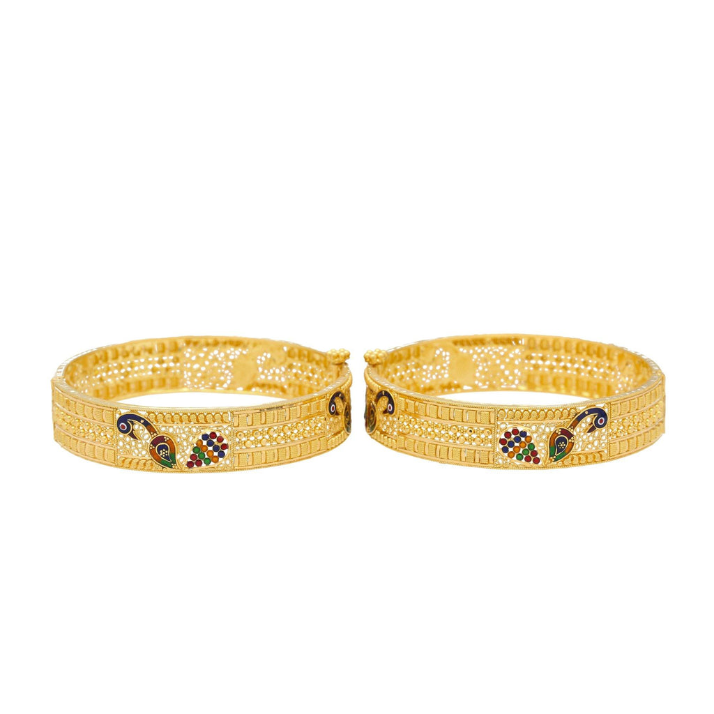 22K Yellow Gold & Enamel Divya Peacock Bangle Set Of 2 | Bring life to any look with the 22K Gold & Enamel Divya Peacock Bangles from Virani Jewelers....