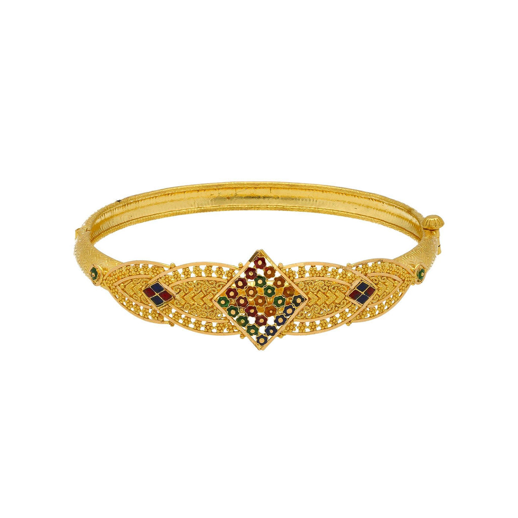 22K Yellow Gold Meenakari Bangle W/ Rhombus Accents |    Be bold with the colorful accents of this 22K yellow gold meenakari bangle from Virani Jeweler...