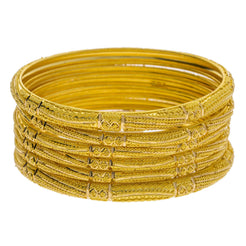 22K Yellow Gold Domed Bangles Set of 6 W/ Gold Strips & Gold Ball Filling - Virani Jewelers