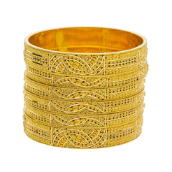 22K Yellow Gold Wide Bangles Set of 6 W/ Abstract Textured Gold Design - Virani Jewelers