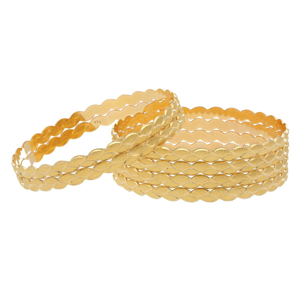 22K Yellow Gold Bangles Set of 6 W/ Grecian Leaf Design |    Enjoy the beauty of subtle details layered to perfection like this set of six 22K yellow gold ...