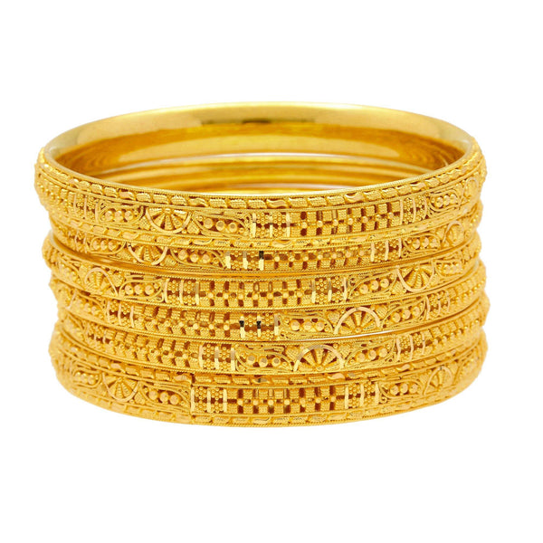 22K Yellow Gold Domed Bangles Set of Six W/ Thick & Thin Bangles 92.7 Grams |    Add the needed depth and texture to your everyday style with the beauty of this set of six fla...