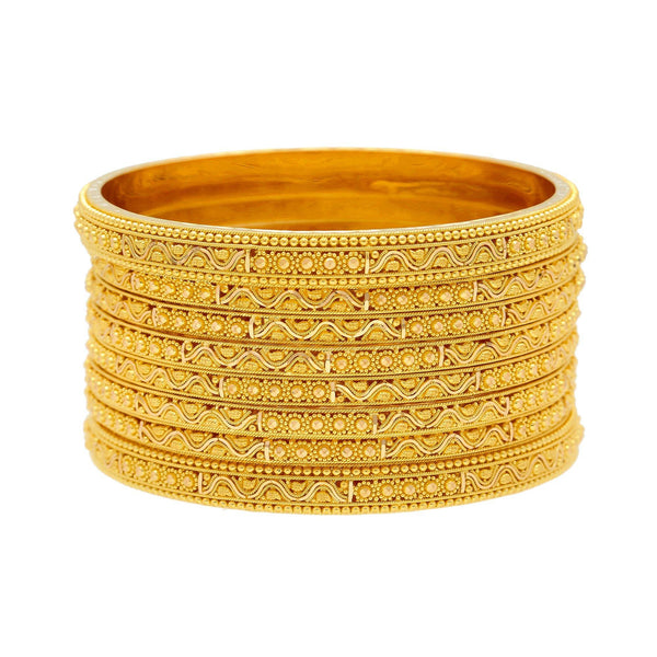 22K Yellow Gold Bangles Set of Eight W/ Thick & Thin Bangles, 88.8 Grams |    Discover the many way to style this stackable set of eight radiant 22K yellow gold bangles fro...