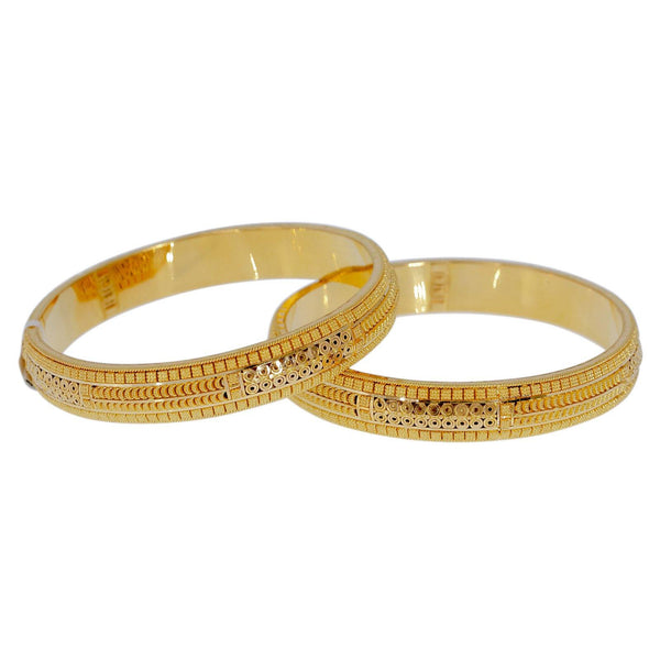 22K Yellow Gold Bangles Set of 2 W/ Beaded Filigree & Clustered Disc Accents - Virani Jewelers | Explore the alluring mystique of finely detailed gold bangles with these 22K yellow gold women's ...