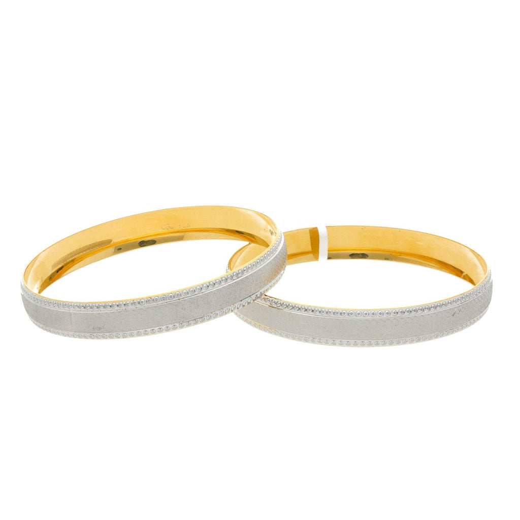 22K Yellow Gold Feminine Bangles Set of Two, 51.4 grams |    Spoil your lady love with a bangle that's designed exclusively for her. The basic design of th...