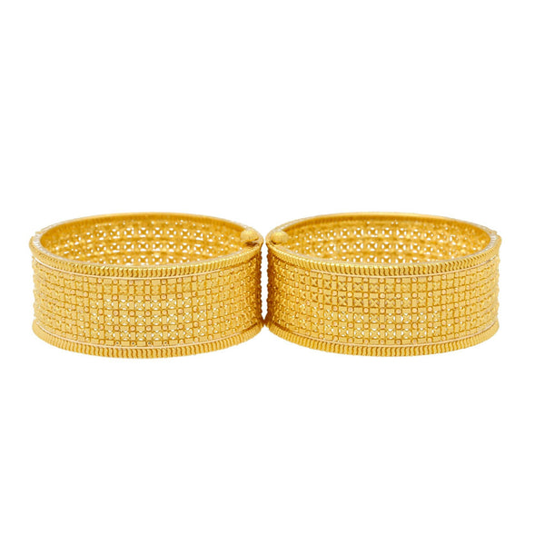 22K Yellow Gold Bimala Cuff Bangle Set Of 2 |  Add a touch of sophistication to your look with the 22K Yellow Gold Bimala Cuffs from Virani Jew...