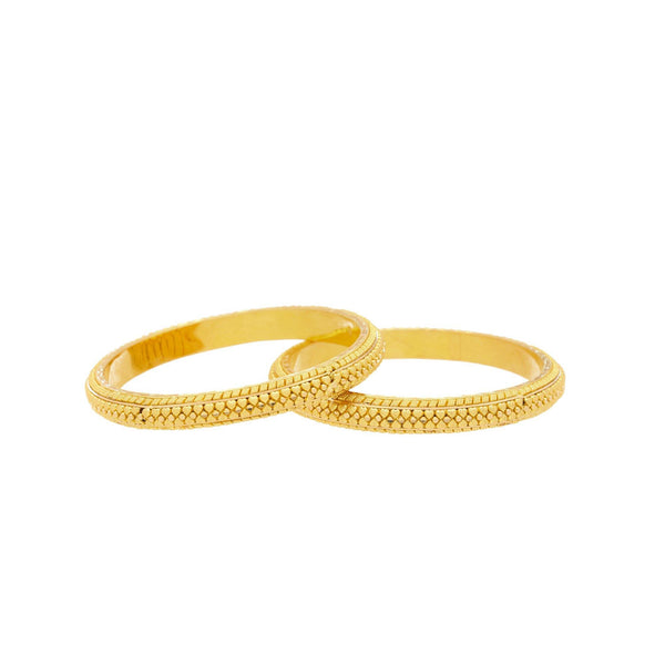 22K Yellow Gold Beaded Heart Bangles |  Complete your gold bangle collection with the 22K Yellow Gold Beaded Heart Bangle from Virani Je...