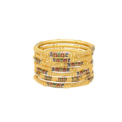 22K Yellow Gold & Enamel Medium Unity Bangle