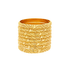 22K Yellow Gold Paisley Bangles