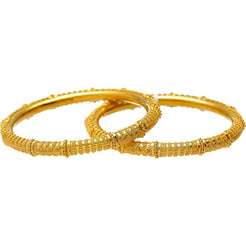 22K Yellow Gold & Beaded Filigree Bangle Set (41.3 grams)
