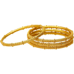 22K Yellow Gold & Beaded Filigree Bangle Set (58.3 grams)