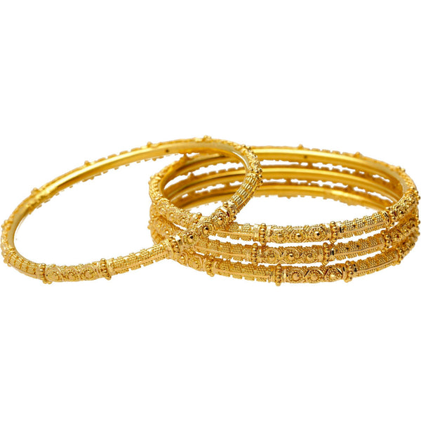 22K Yellow Gold & Beaded Filigree Bangle Set (51.4 grams) |  Take your look from basic to fabulous when you wear this set of 22k gold bangles. These classic ...