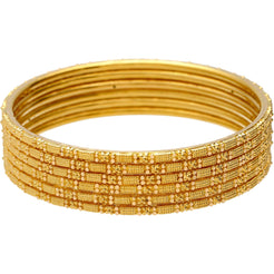 22K Gold Thin Indian Gold Bangle Set of 6