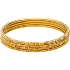 22K Gold Thin Indian Bangle Set of 4