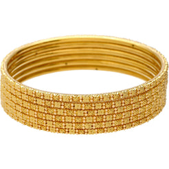 22K Gold Thin Beaded Filigree Bangle Set of 6