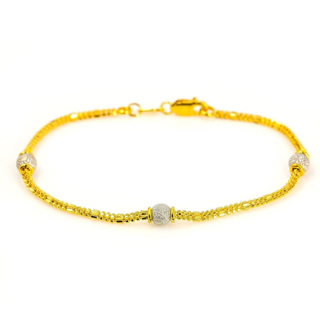 22K Multi Tone Gold Bracelet W/ Textured Yellow Gold Chain & White Gold Bead Accents, Size 7 |  22K Multi Tone Gold Bracelet W/ Textured Yellow Gold Chain & White Gold Bead Accents for wom...