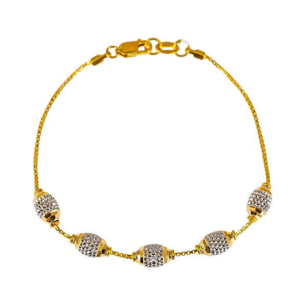 22K Multi Tone Gold Bracelet W/ Yellow & White Gold Accent Beads | Feminine chic accessories are essential for every affair such as this this elegant 22K multi tone...