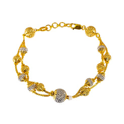 22K Multi Tone Gold Bracelet W/ White & Yellow Gold Spindle Beads