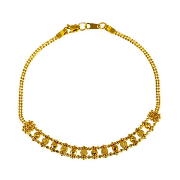 "22K Yellow Gold Bracelet W/ ""Railroad Track"" Accent Pattern 