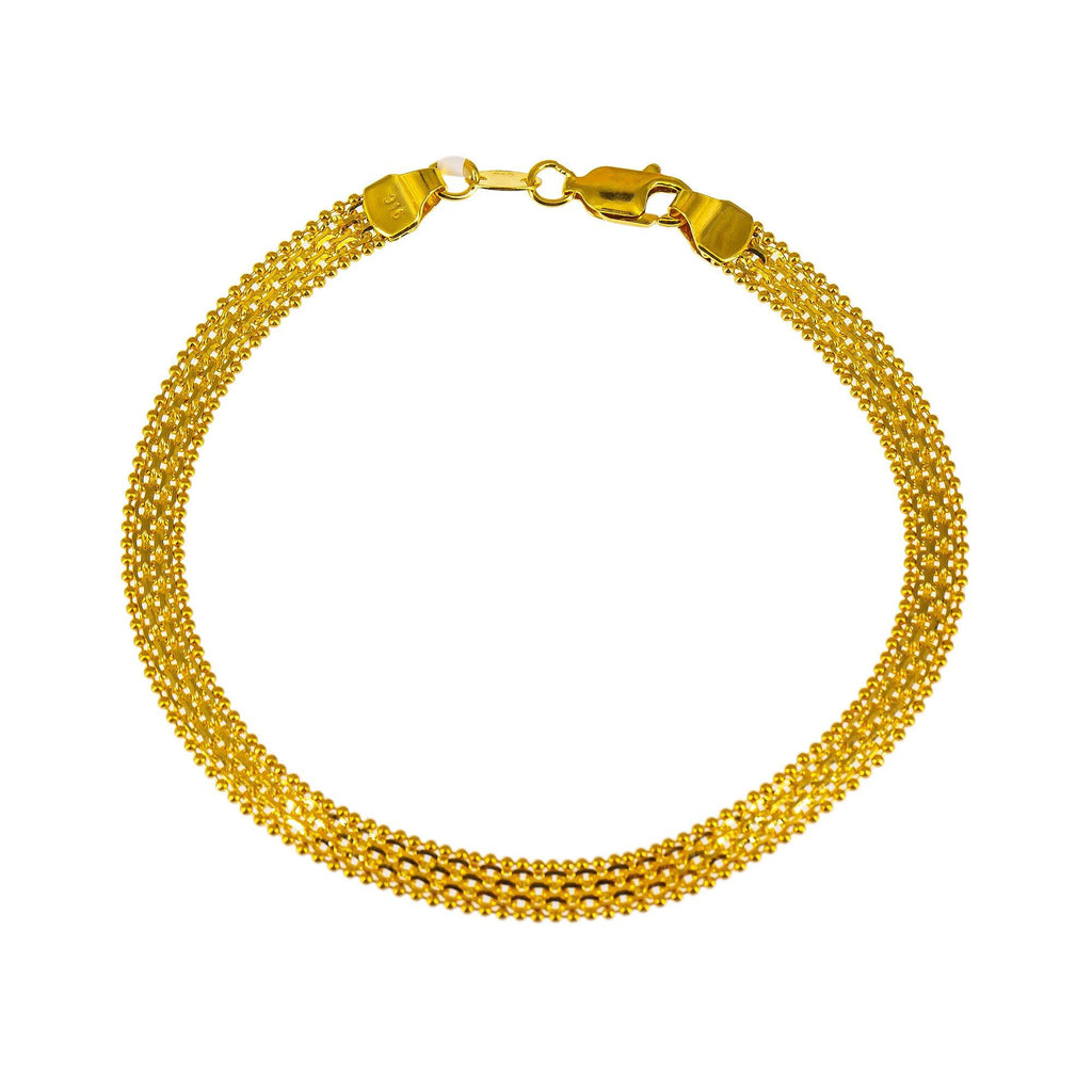 22K Yellow Gold Flat Bracelet W/ Anchor & Ball Bead Links | Thick and gaudy can be the very thing you need to transform your look, like this 22K yellow gold ...