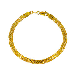 22K Yellow Gold Flat Bracelet W/ Anchor & Ball Bead Links