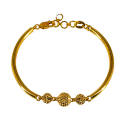 22K Yellow Gold Bracelet W/ Centered Detailed Spindle Beads