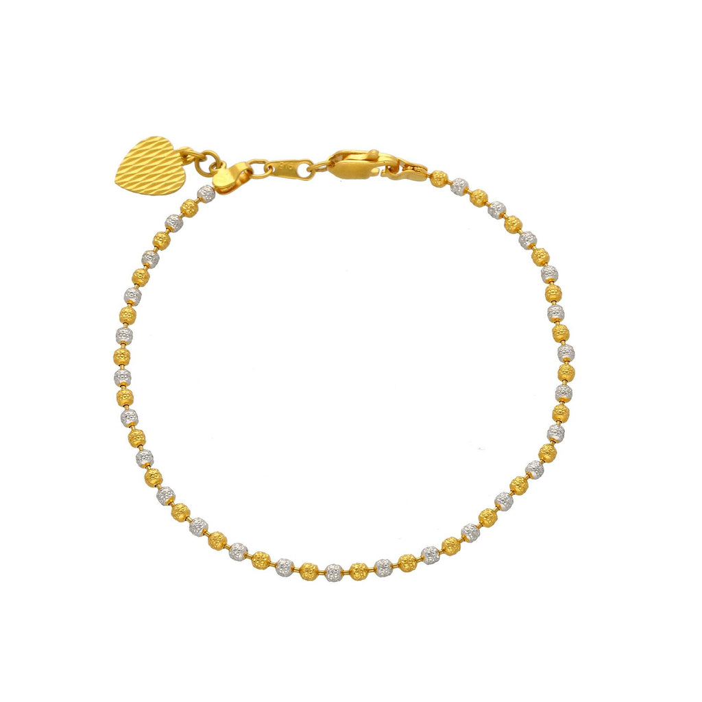 22K Multi Tone Gold Ball Bracelet W/ Heart Charm |    Add an elegant hint of gold to your everyday, casual looks with this beautiful 22K multi tone ...