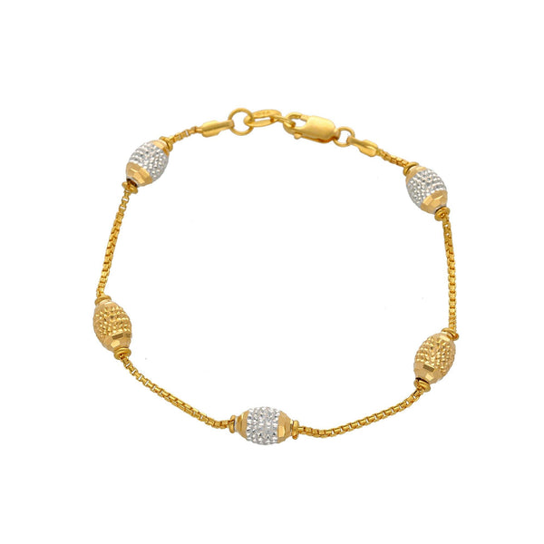 22K Multi Tone Gold Bracelet W/ Boxlink Chain & Gold Accent Oblong Beads, 7.2 Grams |    Explore the unique designs of this 22K multi tone gold bracelet from Virani Jewelers!   Featur...